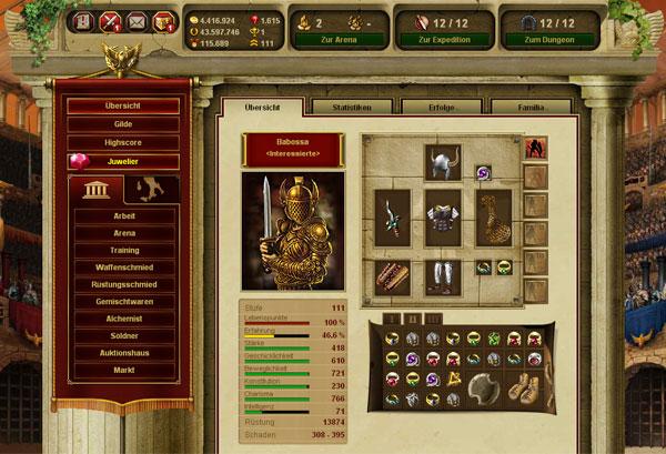 Personaje juego navegador Gladiatus
