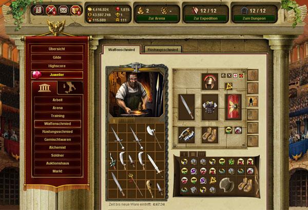 Equipo juego Gladiatus Hero of Rome
